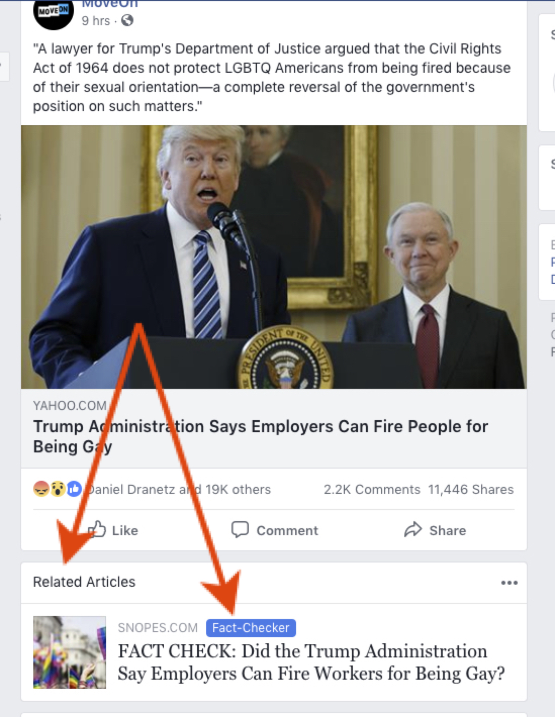 Facebook's related articles fact checking.