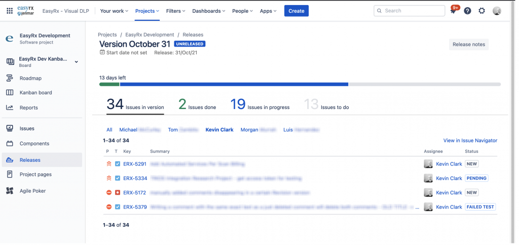 Jira Release UI Filters and Table Sorting with Tampermonkey